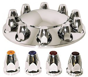 ABS Chrome 2-piece Front Axle Cover Kit with Removable Cap