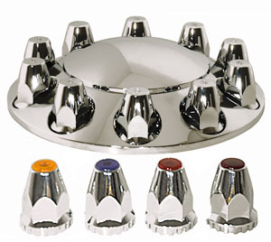 ABS Chrome 1-piece Front Axle Cover Kit with Non-Removable Cap