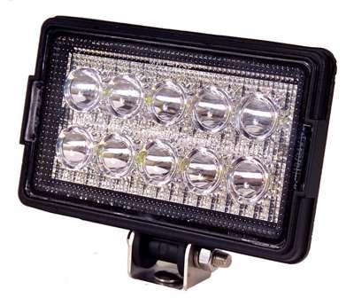 Rectangular Heavy Duty Work Light - 1500 Lumens - 10 LED's